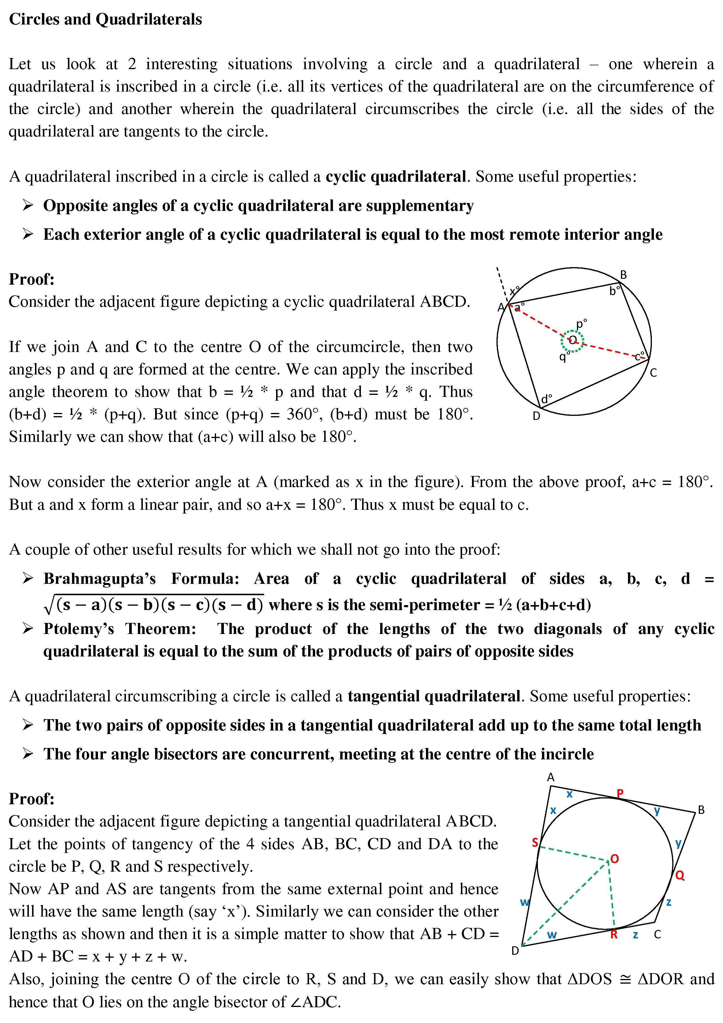 Circles and Quadrilaterals CAT holics